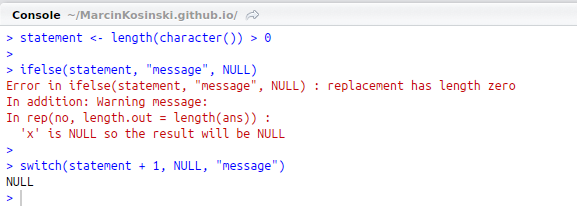 Use switch() instead of ifelse() to return a NULL