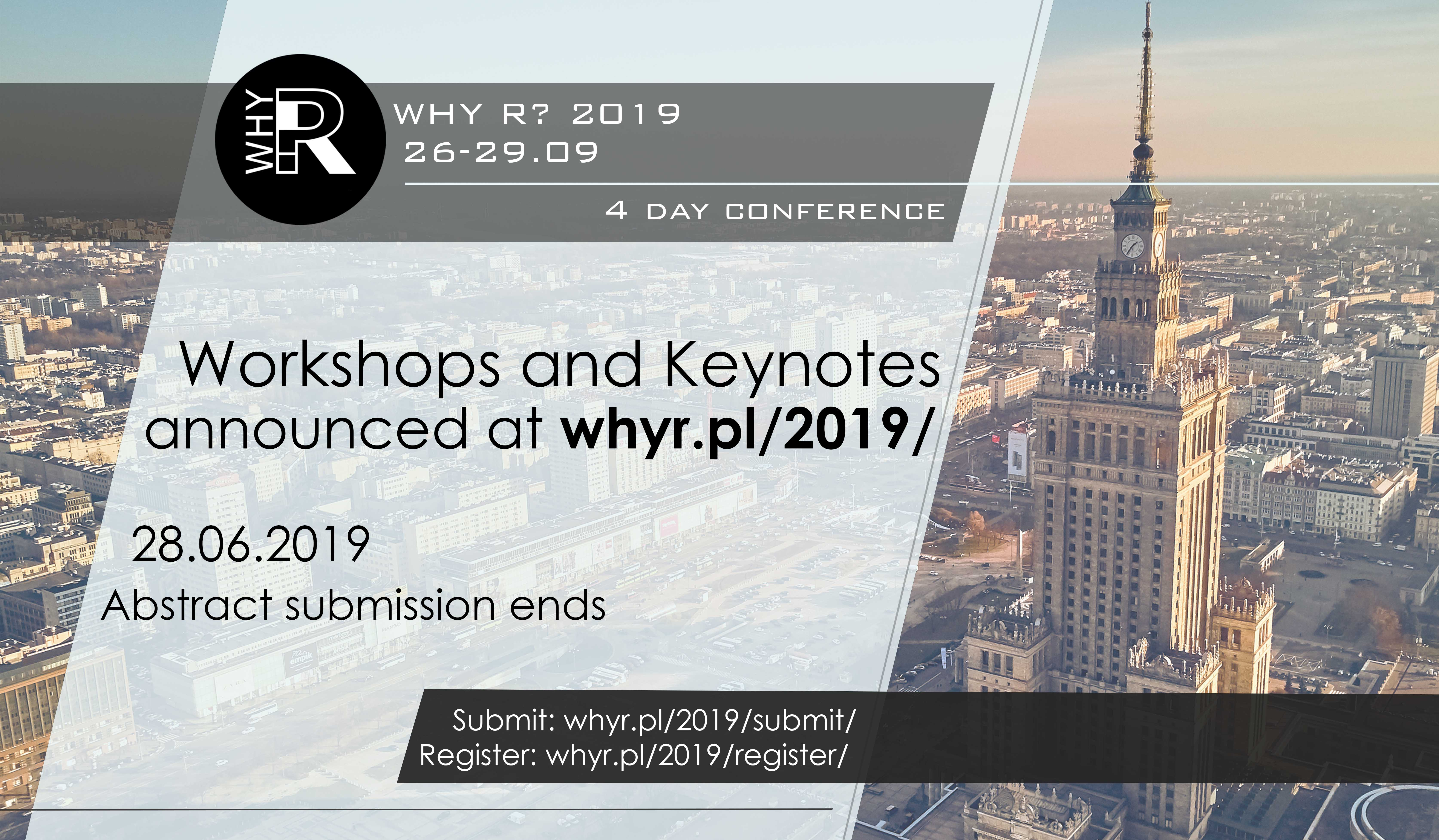 Why R? 2019 Conference – Keynotes and Workshops announced